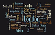 Hill Digital Art Posters - London Text Map Poster by Michael Tompsett
