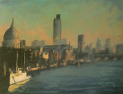 Haze Painting Prints - London Thames Haze Print by Paul Mitchell