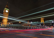 Light Trail Framed Prints - London Traffic Framed Print by Mark A Paulda