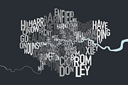 Typographic Map Framed Prints - London UK Text Map Framed Print by Michael Tompsett