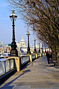 Riverside Framed Prints - London view from South Bank Framed Print by Elena Elisseeva