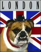Poster Mixed Media Acrylic Prints - London... Acrylic Print by Will Bullas