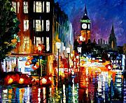 London Painting Prints - Londons Lights Print by Leonid Afremov