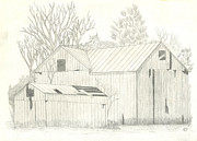 Old Barn Drawing Framed Prints - Lone Barn Framed Print by Keith Sachs