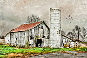 Sheds Digital Art Prints - Lone Barn Print by Mary Timman