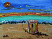 Sun Print Drawings Prints - Lone Beach Cabana by Mary Carol Print by Mary Carol Williams
