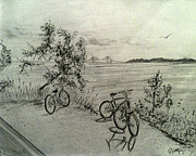 Bridge Drawings - Lone Bicycles by Jason Sotzen