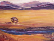 Buffalo River Paintings - Lone Buffalo by Gayle McGinty