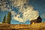 Field. Cloud Digital Art Prints - Lone Cabin Print by Jeff Kolker