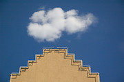 Adobe Architecture Posters - Lone Cloud Over Parapet of Building Poster by Thom Gourley/Flatbread Images, LLC