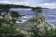 Golf Painting Prints - Lone Cypress Print by Lisa Reinhardt