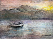 Mountains Pastels Prints - Lone Fisherman Print by Arline Wagner