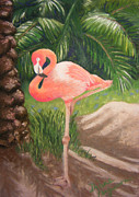 Large Pastels Metal Prints - Lone Flamingo Metal Print by Diane Ferguson