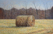 Patsy Sharpe Painting Framed Prints - Lone Haybale Framed Print by Patsy Sharpe