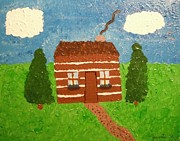 Log Cabin Art Paintings - Lone Log Cabin by Jeannie Atwater Jordan Allen
