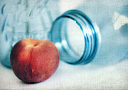 Mason Jars Photos - Lone Peach by Darren Fisher