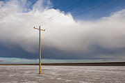 Bleak Desert Framed Prints - Lone Power Pole Framed Print by Thom Gourley/Flatbread Images, LLC