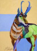 Abstract Wildlife Paintings - Lone Pronghorn by Tracy Miller