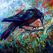 Crows Painting Posters - Lone Raven Poster by Marion Rose