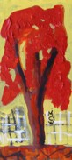 Fantasy Tree Art Drawings Prints - Lone Red Tree Print by Mary Carol Williams