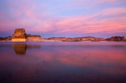 Lone Metal Prints - Lone Rock Sunset Metal Print by Mike  Dawson