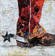 Torn Paper Prints - Lone Star Spur Print by Suzy Pal Powell