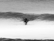 Seashore Mixed Media - Lone Surfer 2 BW by Maria Eames