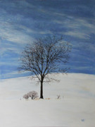 Lone Tree Painting Framed Prints - Lone tree in Winter Framed Print by Kevin Doty