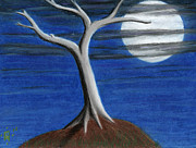 Full Moon Pastels - Lone Tree by Todd Henderson