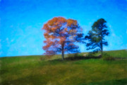 Bales Digital Art Posters - Lone Trees Painting Poster by Teresa Mucha