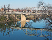 Tree Reflections In Water Posters - Lone Wolf Bridge Over Concho River Poster by Louis Nugent
