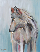 Wildlife Landscape Paintings - Lone Wolf by Cher Devereaux