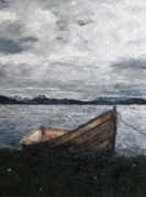 Lakeshore Paintings - Lonely Boat by Tom Schek