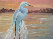 Peach Originals - Lonely Egret by Gretchen Allen