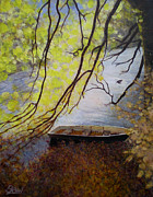 Riverscape - Early Autumn Prints - Lonely Old Boat Print by Bill Brown