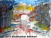 Calcutta Paintings - Lonely River  by Shubhankar Adhikari