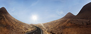 Lanzarote Prints - Lonely Road Through Magic Desert Hills Backlit Print by Dejan Patic