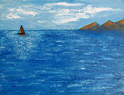 British Columbia Paintings - Lonely Sailboat by Eva Kondzialkiewicz