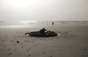 Shotwell Photography Metal Prints - Lonely Sandcastle - Toned Metal Print by Kathi Shotwell