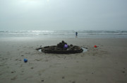 Shotwell Photography Metal Prints - Lonely Sandcastle Metal Print by Kathi Shotwell