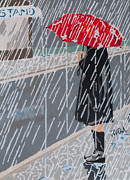 Rainy Street Painting Originals - Lonely Street by Steve Teets