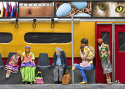 City Sculptures - Lonely Travelers - Crop Of Original - To See Complete Artwork Click View All by Anne Klar
