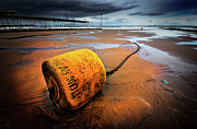 Buoy Prints - Lonely Yellow Buoy Print by Meirion Matthias