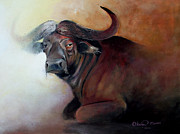 Okwir Isaac Metal Prints - Lonesome  bull Metal Print by Okwir Isaac