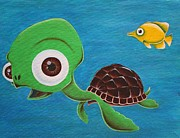 Green Turtle Posters - Lonesome Fish And Friendly Turtle Poster by Landon Clary