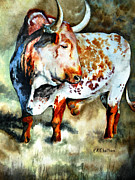 Steer Paintings - Lonesome Longhorn by Karen Kennedy Chatham