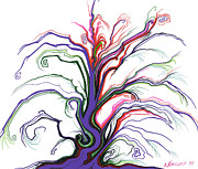 Curvy Drawings Posters - Lonesome Purple Tree Poster by Nina Kuriloff