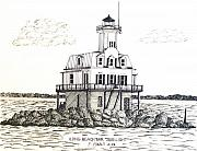 Lighthouse Drawings - Long Beach Bar Bug Light by Frederic Kohli
