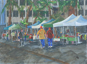 Long Street Painting Posters - Long Beach Farmers Market Poster by Gail Daley