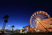 Ferris Wheel Night Photographs Posters - Long Beach Ferris Wheel Poster by Christina Czybik